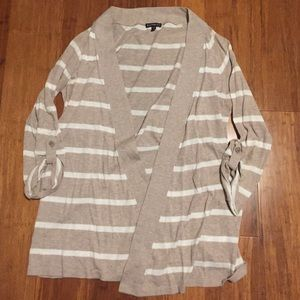 Express Beige Striped Open Front Cardigan